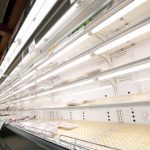 Empty Supermarket Store Shelves